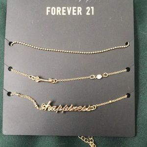 new forever 21 gold chokers, happiness necklace